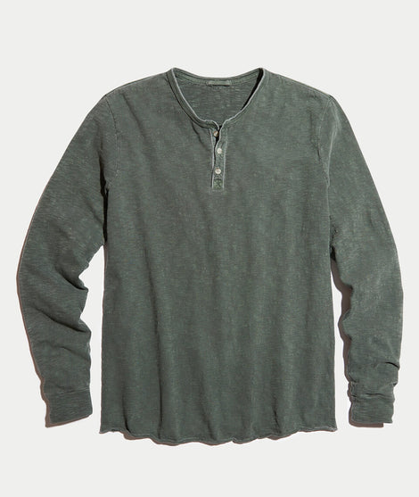 Lightweight Henley in Dusty Olive