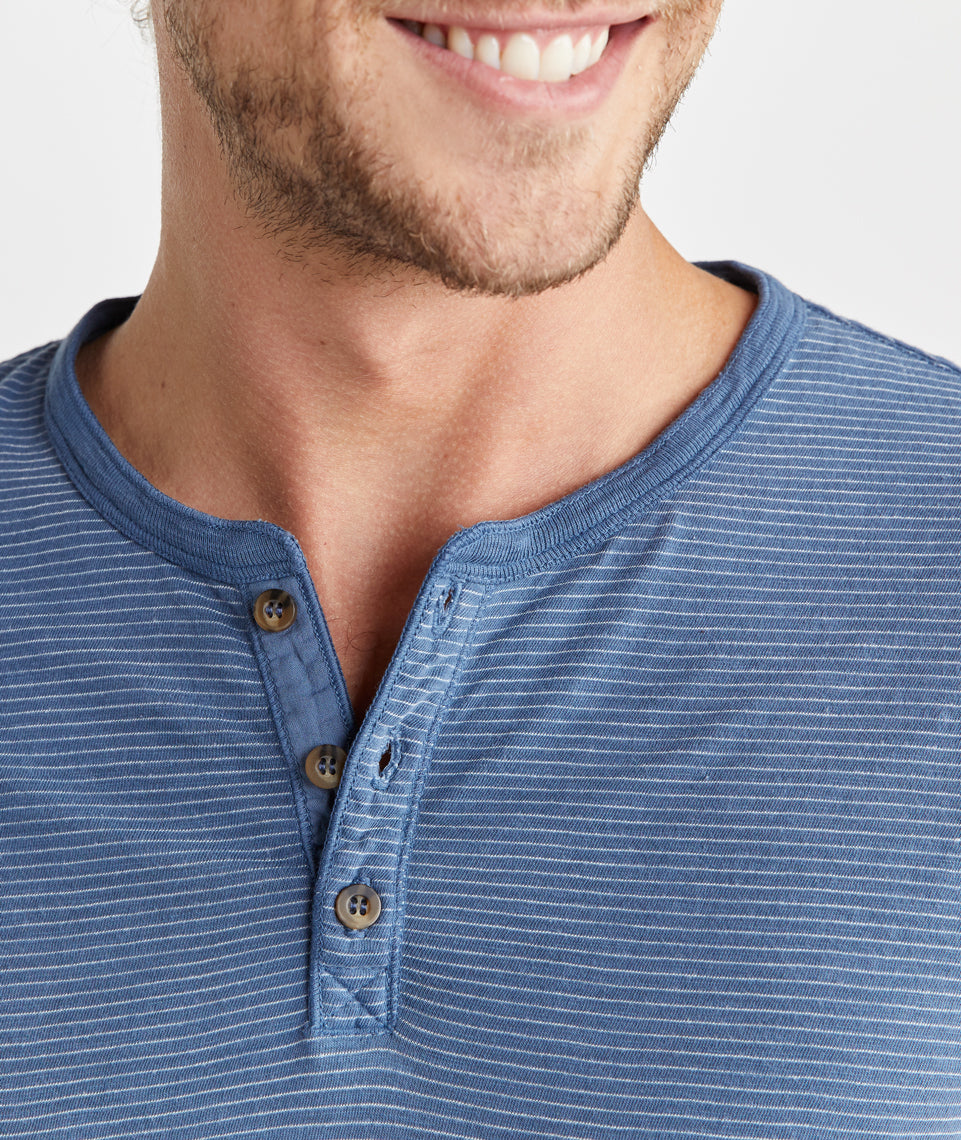 Lightweight Henley in Vintage Indigo Stripe