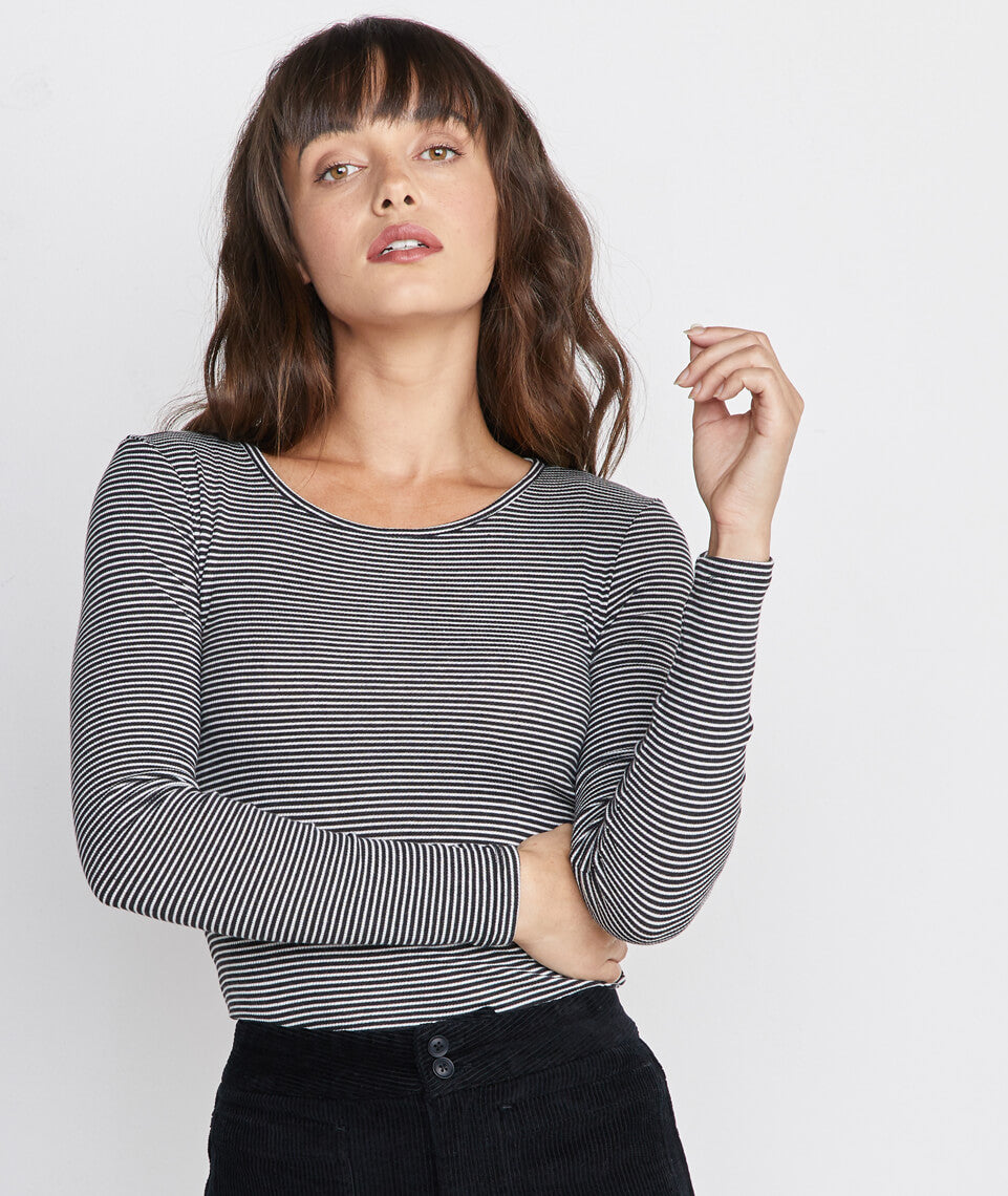 Longsleeve Lila Rib Crew in Black/Cream