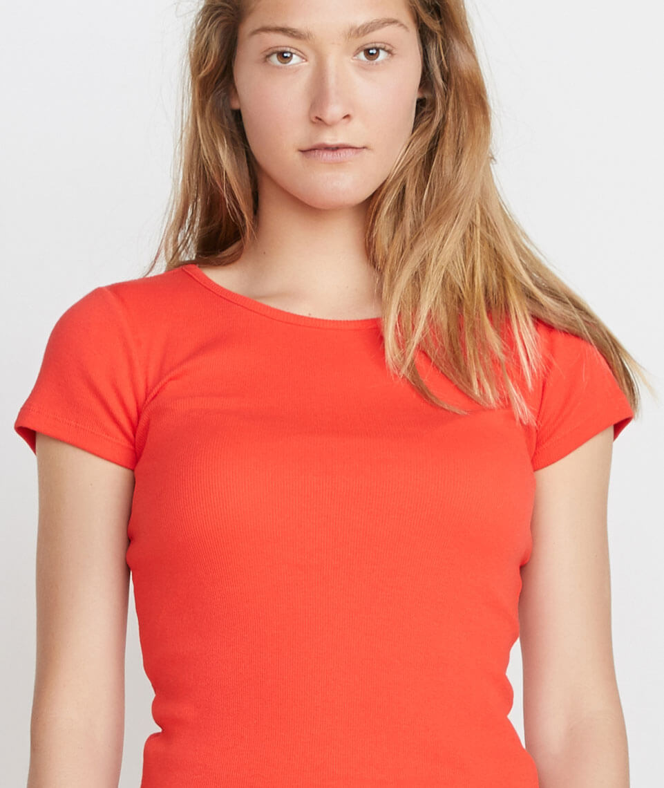 Lila Rib Scoop Neck in Cherry