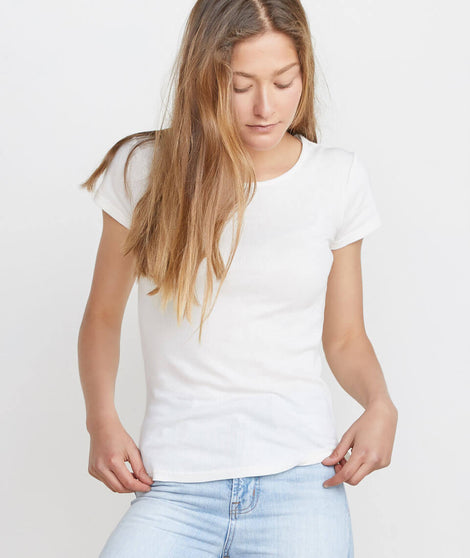 Lila Rib Scoop Neck in White