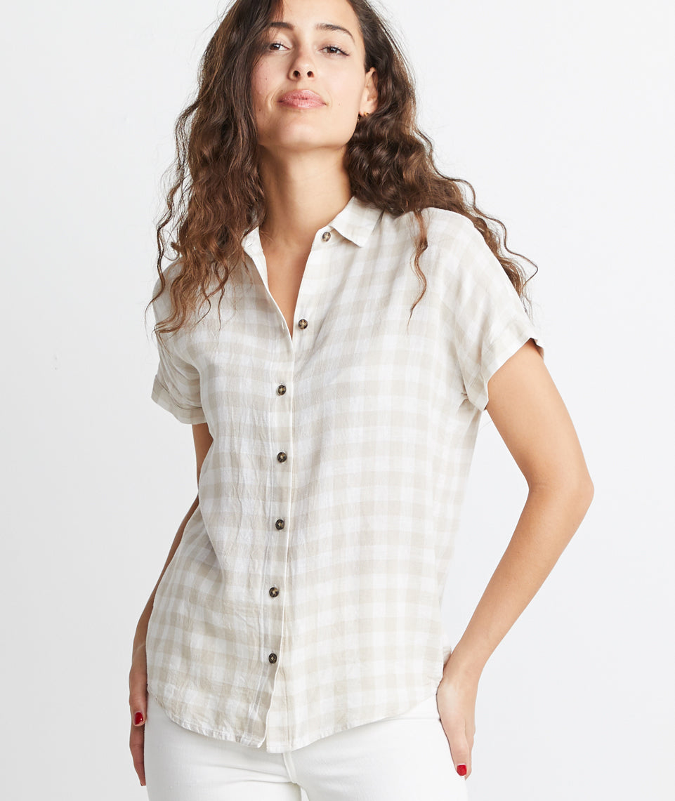 Chrissy Button Down in Natural Gingham