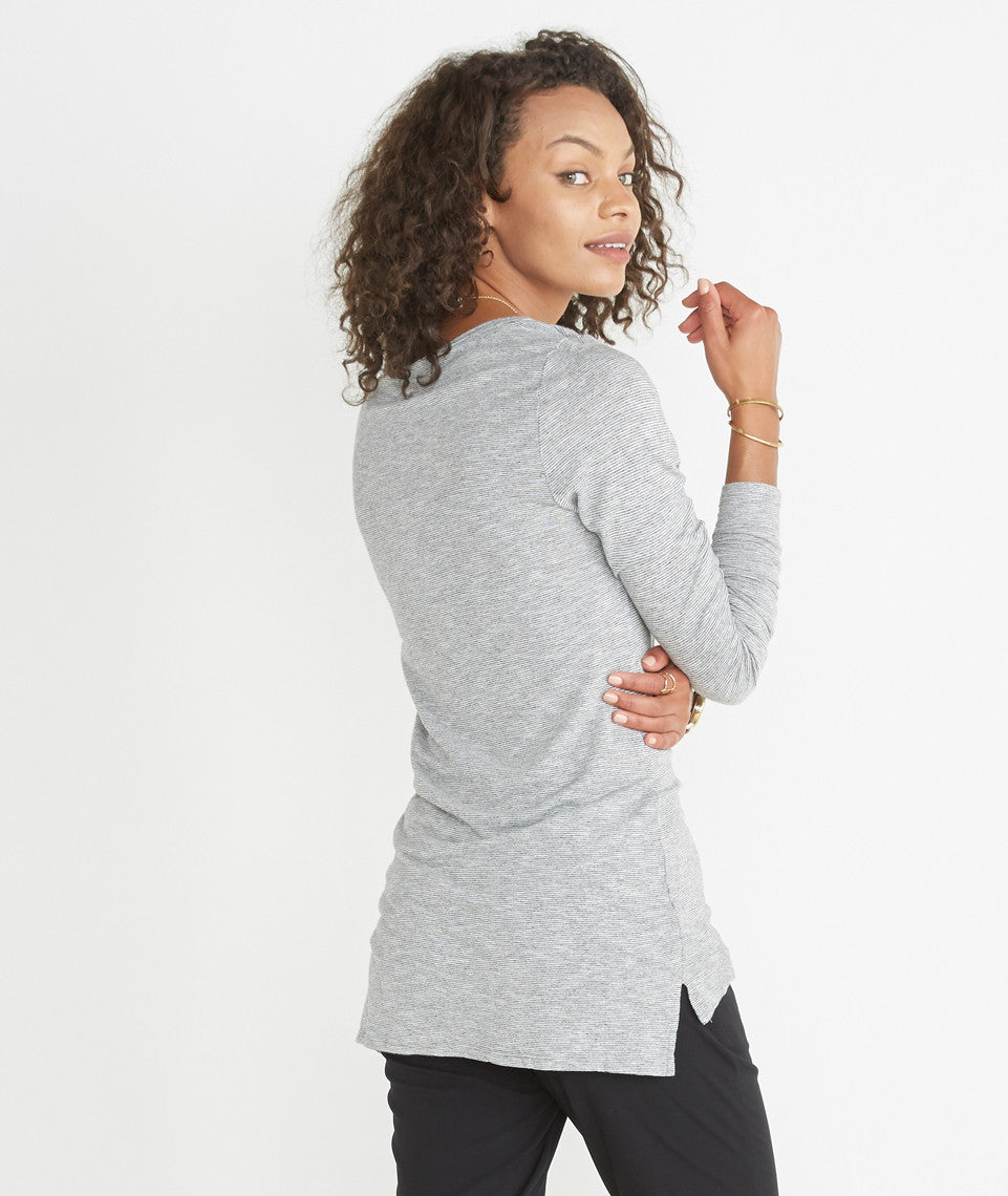 Longsleeve Hi-Low Crewneck - Grey and White Stripe