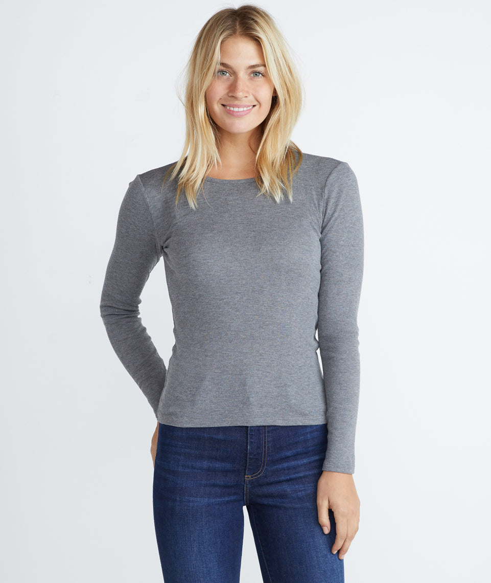 Longsleeve Lila Rib Crew in Heather Grey