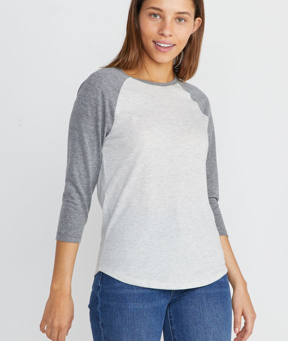 Lightweight Baseball Raglan in Light Grey / Ash Heather