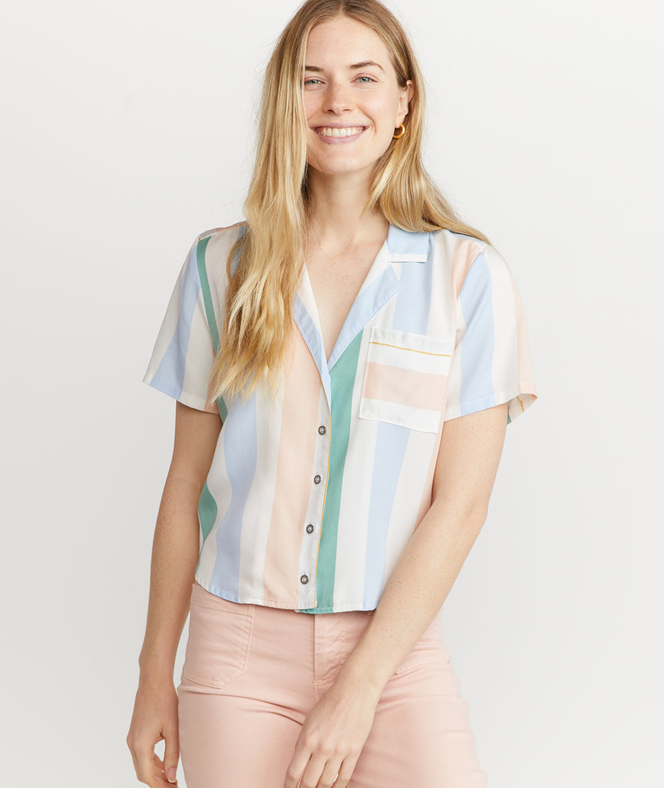 Lucy Button Down in Multi Stripe
