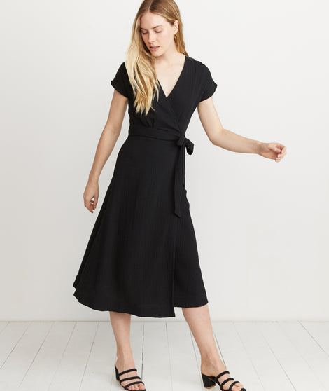 Maddie Wrap Dress in Black