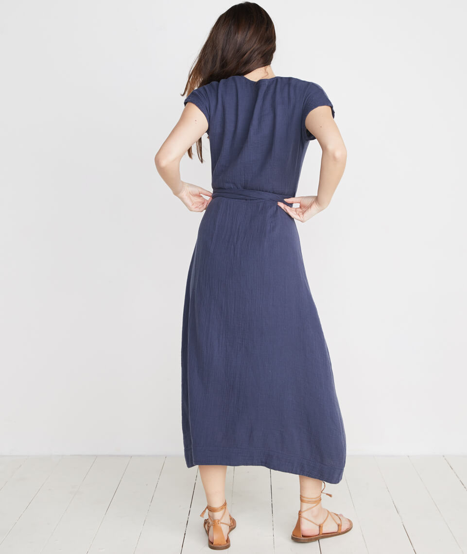 Maddie Wrap Dress in Ink