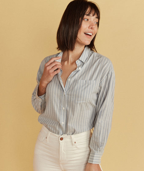 Madison Boyfriend Button Down in Menswear Stripe