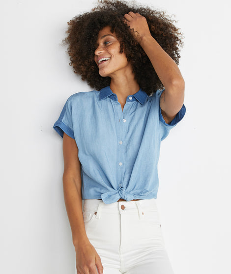 Mariah Button Down in Light Chambray