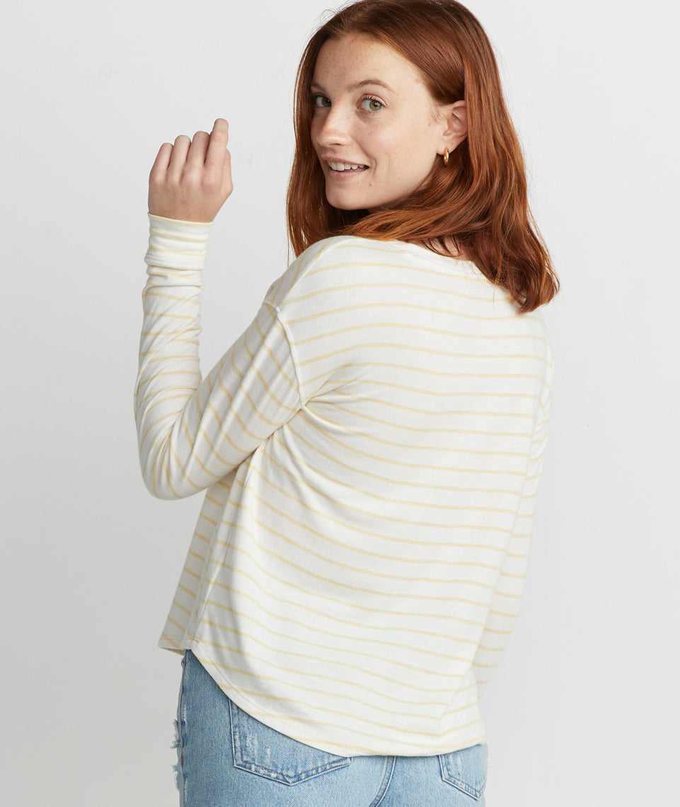 Marlie Drop Shoulder Crew in Yellow Stripe