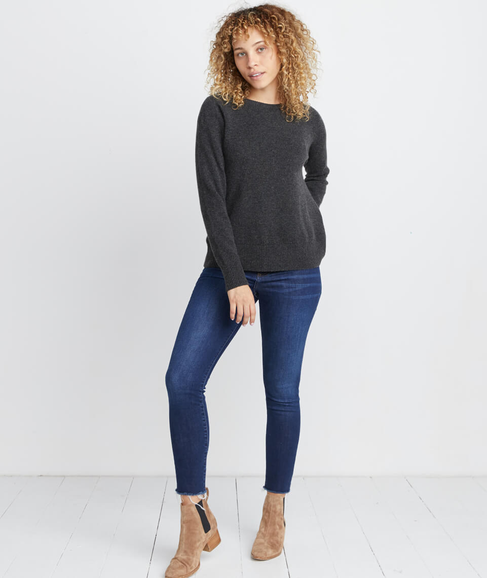 Maya Cashmere Swing Crewneck Sweater in Heather Grey