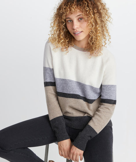 Maya Cashmere Swing Crewneck Sweater in Neutral Stripe