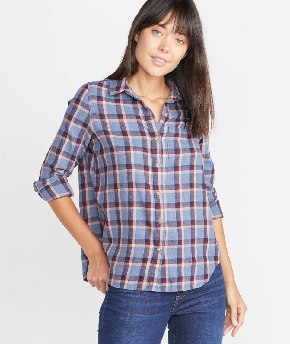 Meadow Button Down in Blue Plaid