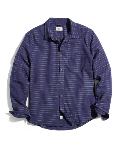 Classic Fit Selvage Shirt in Navy/Green Stripe laydown