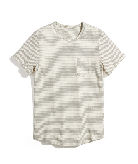 Saddle Hem Pocket Tee in Natural/Black Stripe