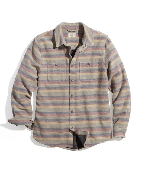 Cotton-Wool Blend Overshirt in Multi Stripe