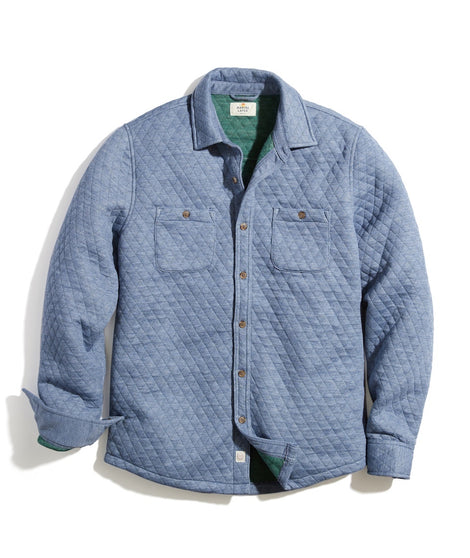 Quilted Overshirt in Navy Heather