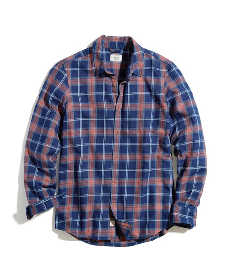 Classic Fit Indigo Twill Shirt in Indigo/Red Plaid