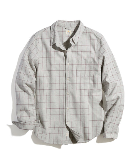 Classic Fit Double Twill Shirt in Light Grey Windowpane