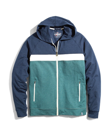 Sport Full Zip Hoodie in Navy/White/Mallard