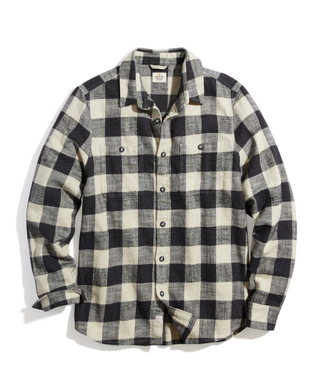 Brushed Flannel Overshirt in Black/Cream Buffalo