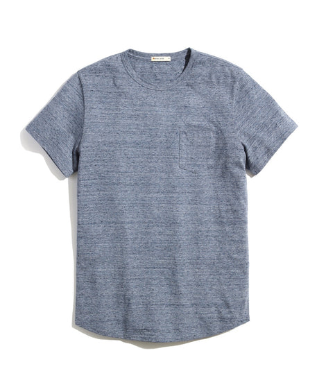 Re-Spun Saddle Hem Pocket Tee in Heather Blue Neps