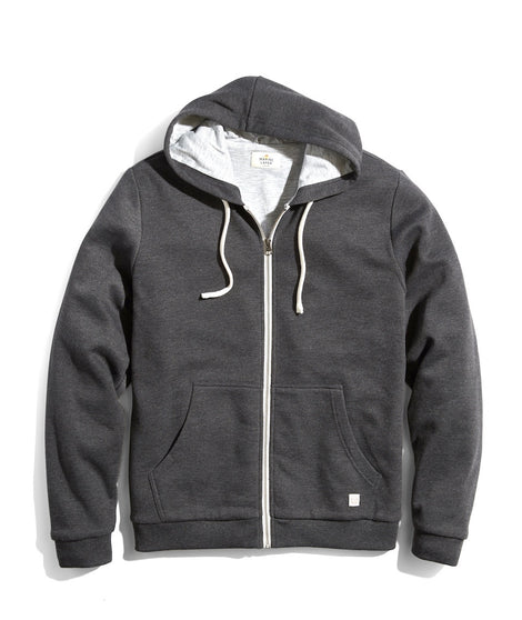 Signature Zip Lined Hoodie in Dark Heather Grey
