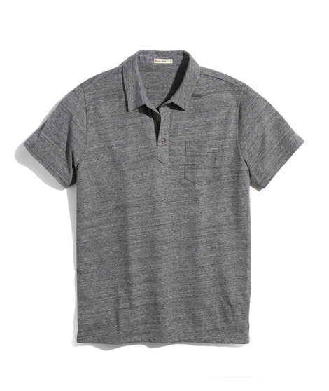 Re-Spun Textured Polo in Heather Grey Neps