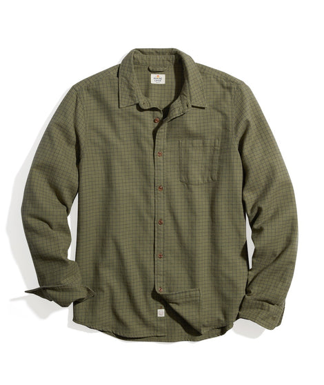 Classic Fit Balboa Button Down in Olive/Black Check Plaid