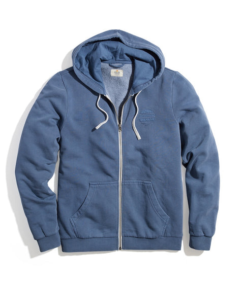 Full Zip Fleece Hoodie in China Blue