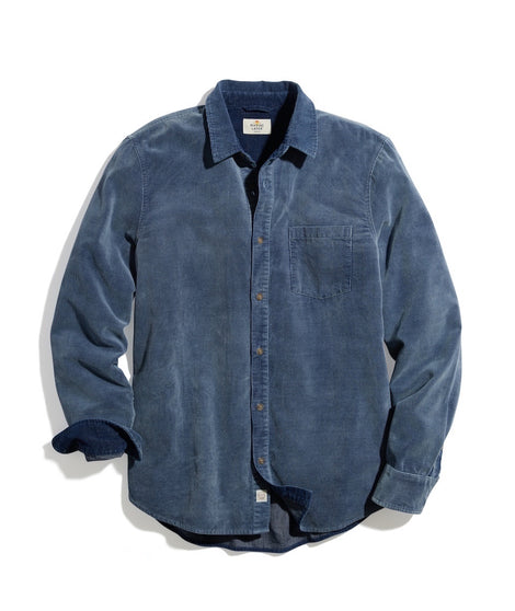 Classic Fit Lightweight Cord Shirt in Indigo