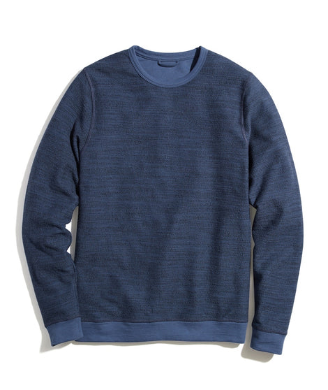Clayton Textured Crew Sweatshirt in Midnight Navy/Black