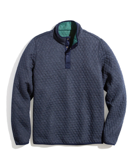 Corbet Reversible Pullover in Navy Heather/Pine Needle Heather