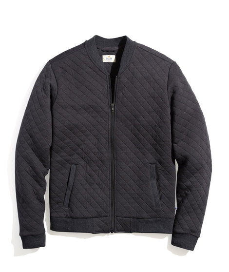 Corbet Quilted Bomber in Charcoal Heather
