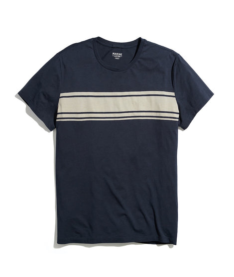 Signature Crew Stripe Graphic Tee in India Ink