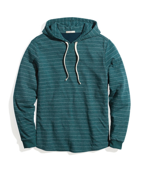 Double Knit Pullover Hoodie in Pine/White Stripe