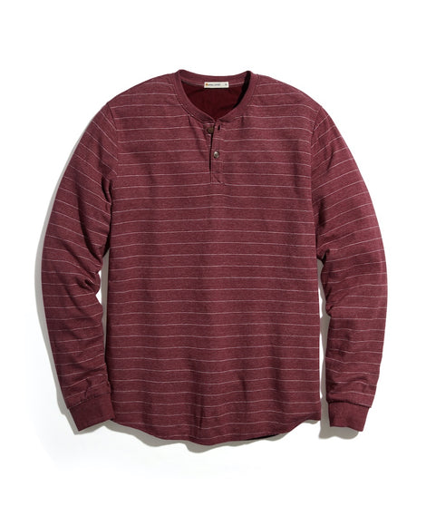Double Knit Henley in Tawny Port/White Stripe