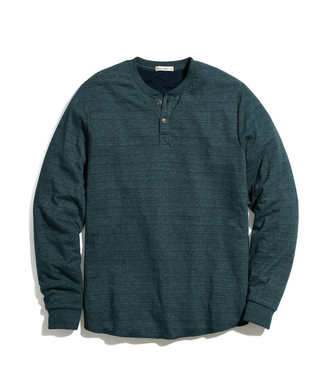 Double Knit Henley in Pine/Navy Stripe