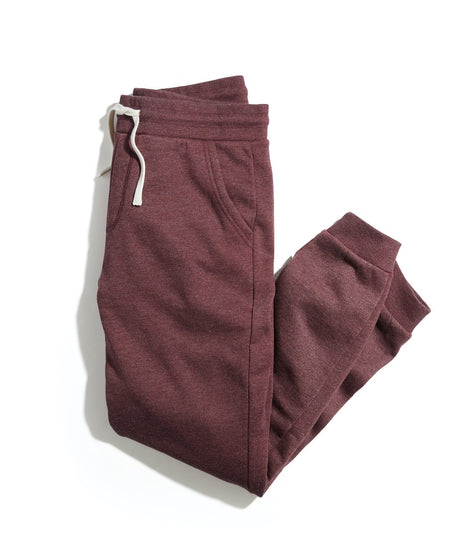 Fleece Jogger Sweatpants in Cabernet Heather