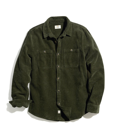 Max Broken In Corduroy Overshirt in Moss