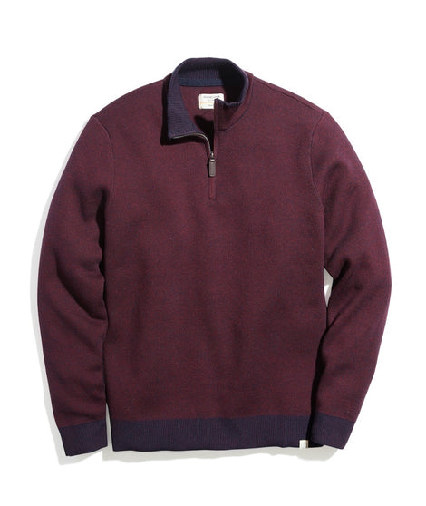 Myers Quarter Zip Sweater in Navy/Burgundy
