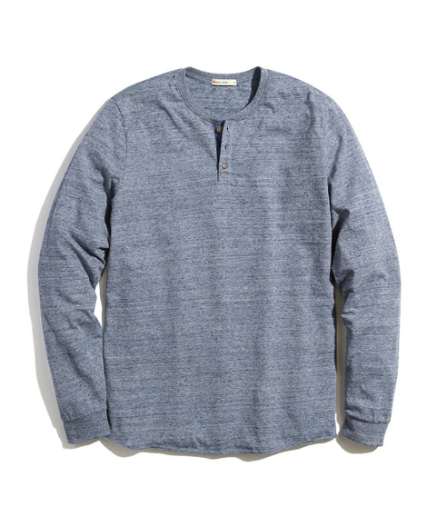 Re-Spun Lightweight Henley in Heather Blue Neps