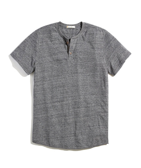 Re-Spun Textured Henley in Heather Grey Neps