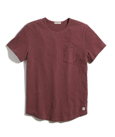Saddle Hem Pocket Tee in Cabernet/White Stripe