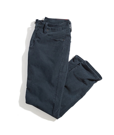 Slim Straight Corduroy Pant in Faded Navy