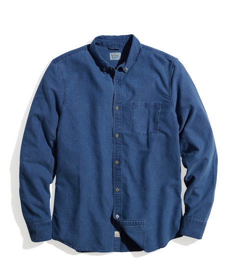 Tailored Fit Chestnut Button Down in Indigo Dot Print