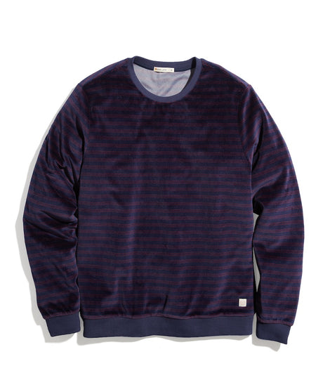 Velour Crewneck in India Ink/Red Stripe