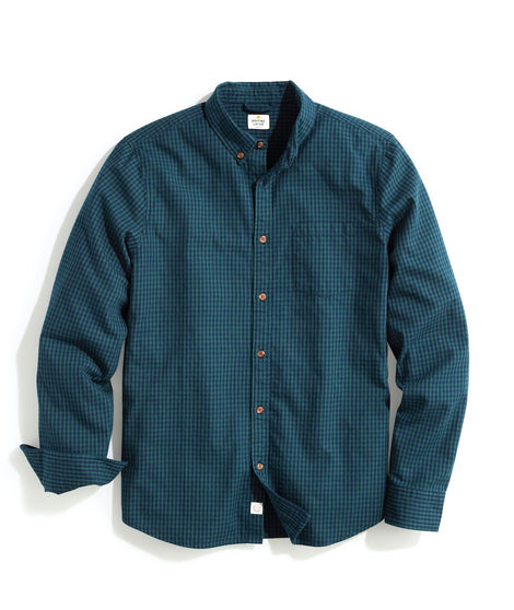 Tailored Fit Brushed Flannel Shirt in Navy/Pine Gingham