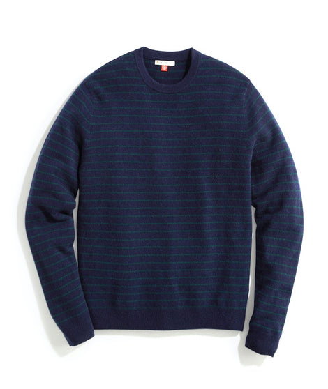 Watson Cashmere Crewneck Sweater in Navy/Pine Stripe